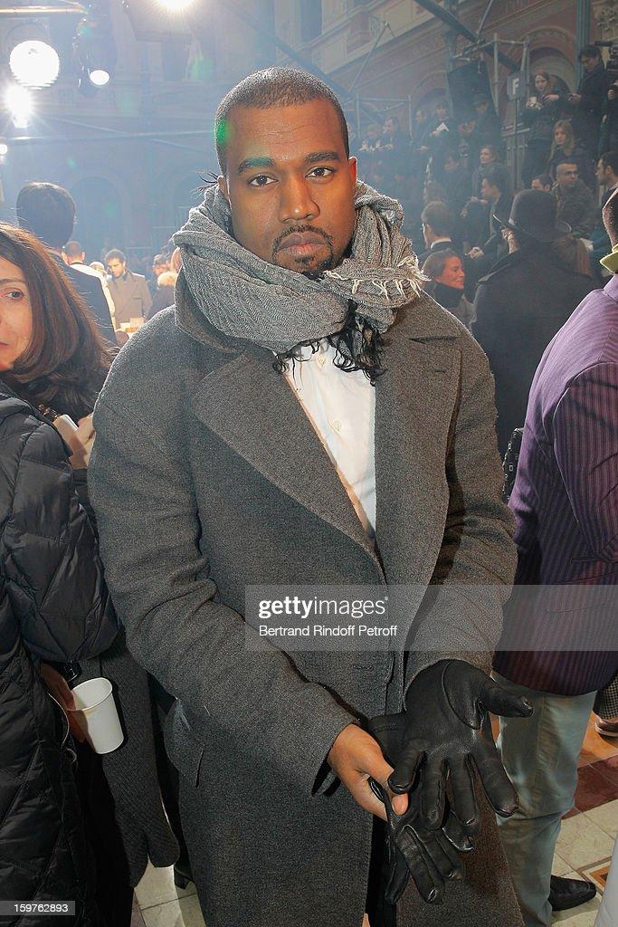 Kanye West attends the Lanvin Men Autumn / Winter 2013 show at Ecole Nationale Superieure Des Beaux-Arts as part of Paris Fashion Week on January 20, 2013 in Paris, France.