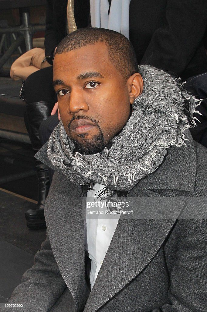 Kanye West attends the Lanvin Men Autumn / Winter 2013 show at Ecole Nationale Superieure Des Beaux-Arts as part of Paris Fashion Week on January 20, 2013 in Paris, France.