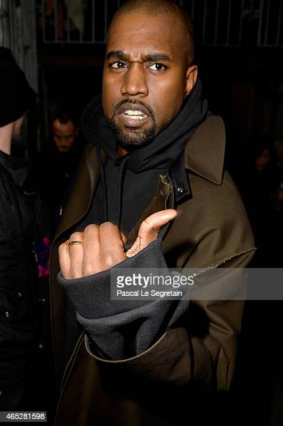 Kanye West attends the Lanvin show as part of the Paris Fashion Week Womenswear Fall/Winter 2015/2016 on March 5 2015 in Paris France