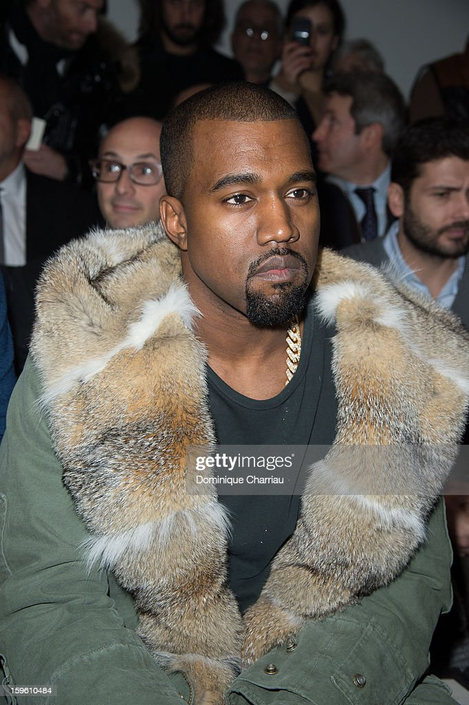 Kanye West attends the Louis Vuitton Men Autumn / Winter 2013 show as part of Paris Fashion Week on January 17, 2013 in Paris, France.