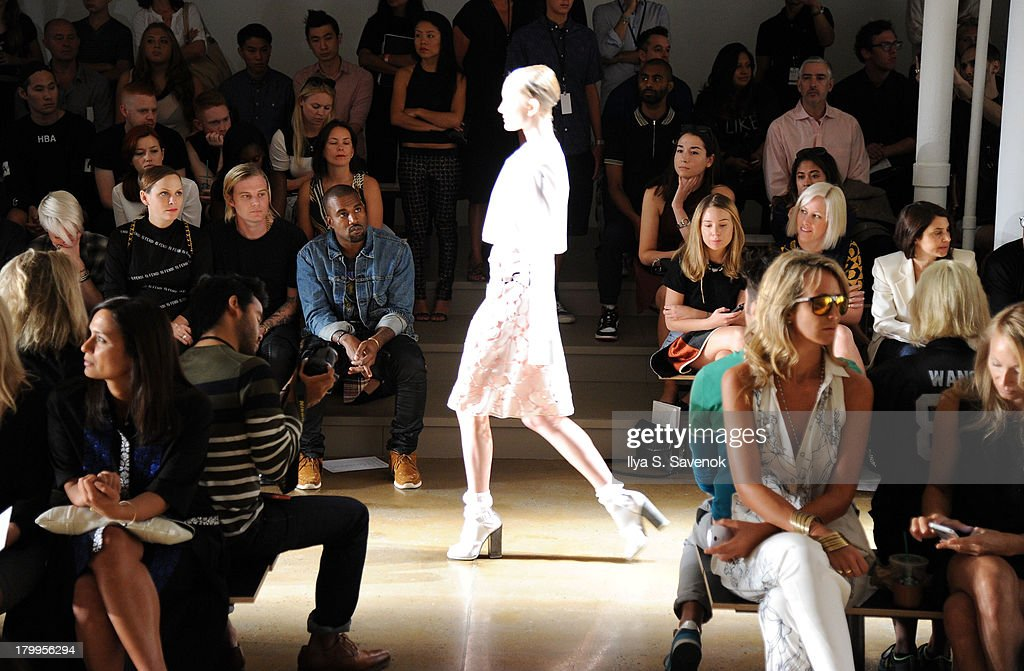 <a gi-track='captionPersonalityLinkClicked' href=/galleries/search?phrase=Kanye+West+-+Musician&family=editorial&specificpeople=201803 ng-click='$event.stopPropagation()'>Kanye West</a> attends the Louise Goldin fashion show during MADE Fashion Week Spring 2014 at Milk Studios on September 7, 2013 in New York City.