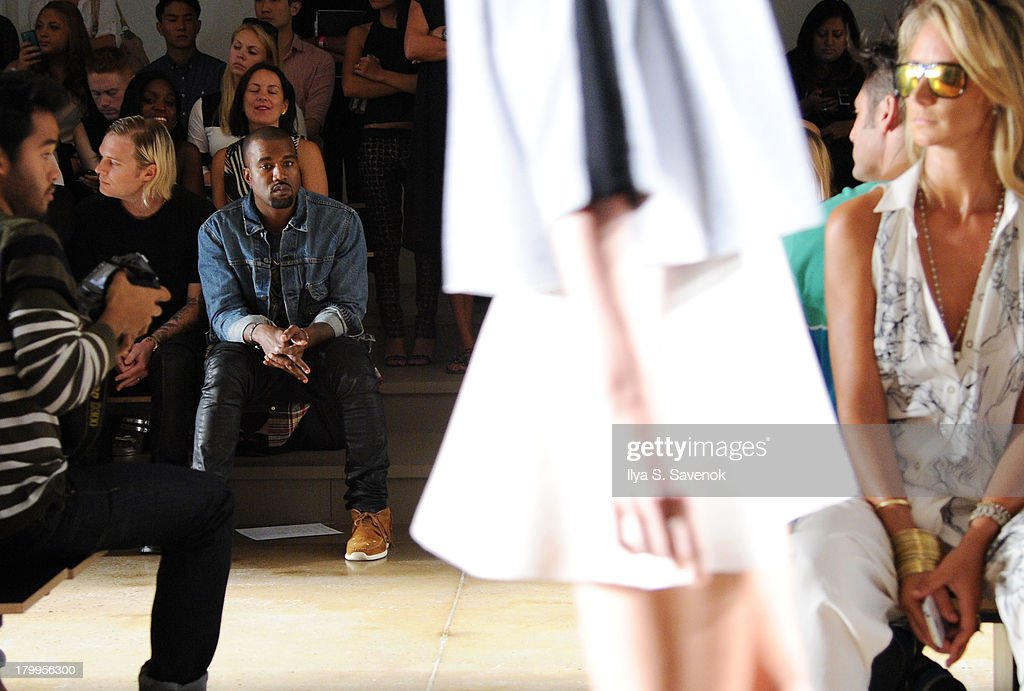 Kanye West attends the Louise Goldin fashion show during MADE Fashion Week Spring 2014 at Milk Studios on September 7, 2013 in New York City.