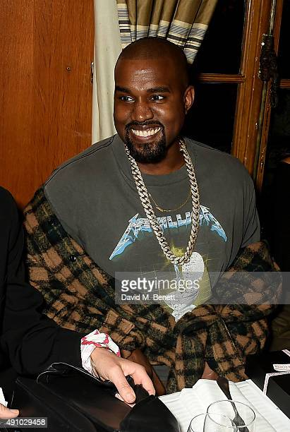 Kanye West attends the Roksanda Ten Year Anniversary Dinner at Caviar Kaspia on October 2 2015 in Paris France