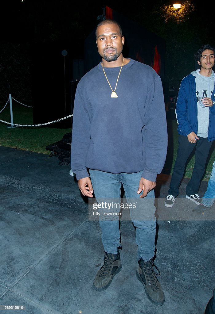 Kanye West attends Travis Scott Music Video Premiere Party For 'Pick Up The Phone 90210' on August 12 2016 in Hollywood California