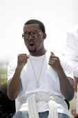 Kanye West during 2005 MTV Video Music Awards Press Conference at Double Tree Hotel in Miami Beach Florida United States