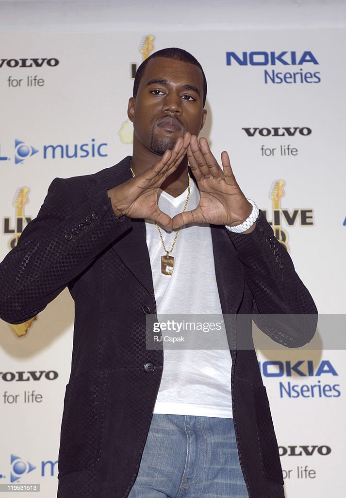 <a gi-track='captionPersonalityLinkClicked' href=/galleries/search?phrase=Kanye+West+-+Musician&family=editorial&specificpeople=201803 ng-click='$event.stopPropagation()'>Kanye West</a> during LIVE 8 - Philadelphia - Press Room at Philadelphia Museum of Art in Philadelphia, Pennsylvania, United States.