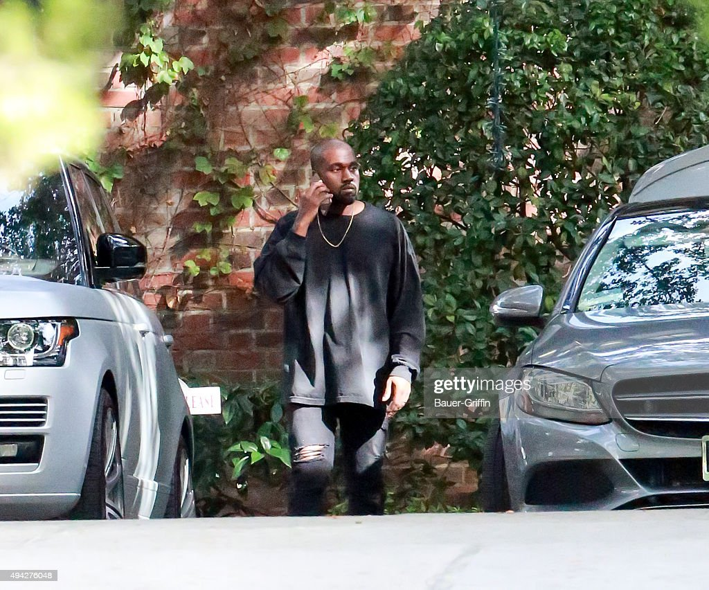 Kanye West is seen at Kim Kardashian's baby shower in Calabasas on October 25 2015 in Los Angeles California