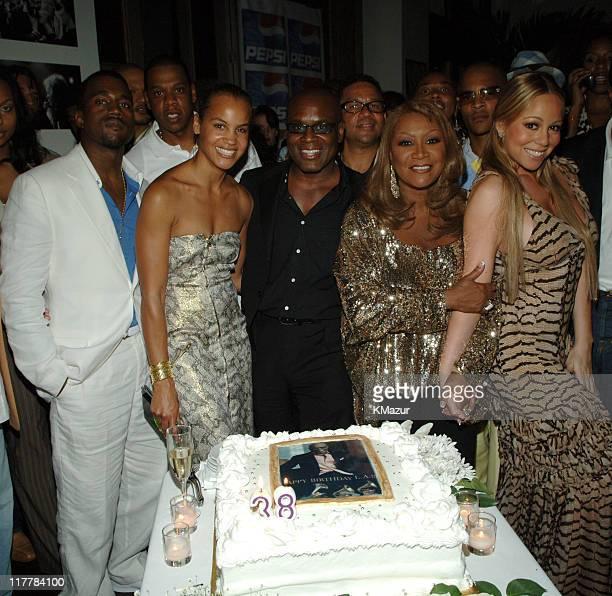 Kanye West JayZ Erica Reid Antonio 'LA' Reid Benny Medina Patti LaBelle and Mariah Carey
