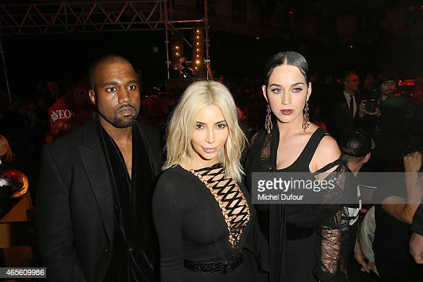Kanye West Kim Kardashian and Katy Perry attend the Givenchy show as part of the Paris Fashion Week Womenswear Fall/Winter 2015/2016 on March 8 2015...