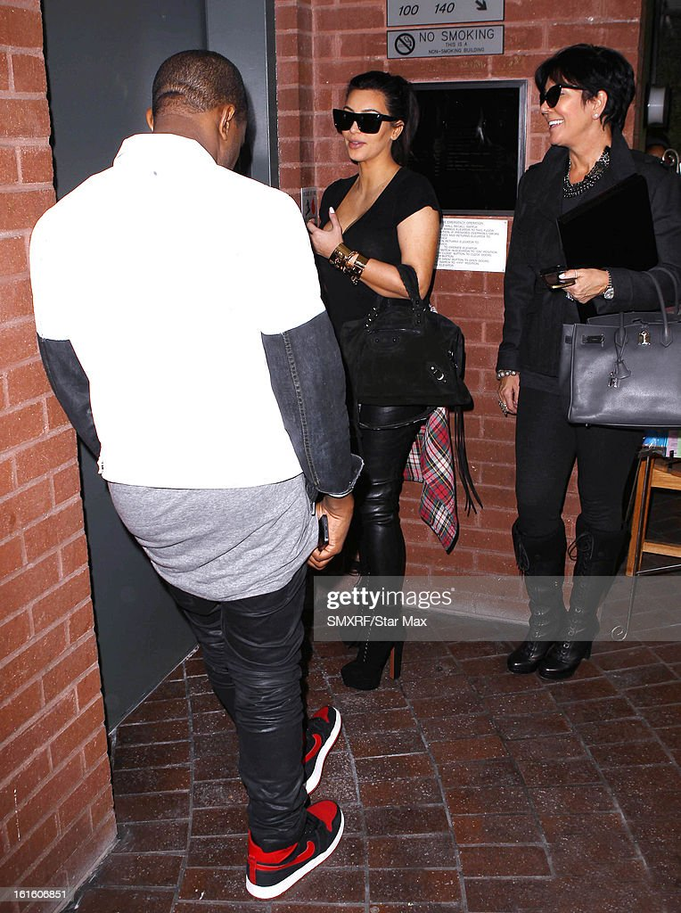 Kanye West, Kim Kardashian and Kris Jenner as seen on February 12, 2013 in Los Angeles, California.