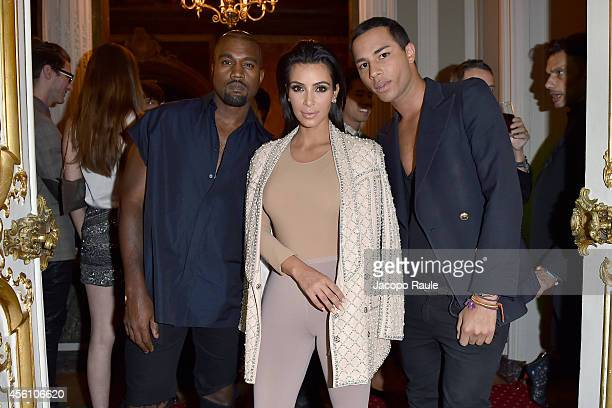 Kanye West Kim Kardashian and Olivier Rousteing attend 'Balmain' After Party on September 25 2014 in Paris France