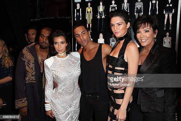 Kanye West Kim Kardashian Designer Olivier Rousteing Kendall Jenner and Kris Jenner pose in Backstage after the Balmain show as part of the Paris...