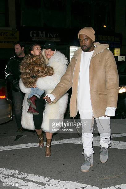 Kanye West Kim Kardashian West and their daughter North West are seen on February 14 2016 in New York City
