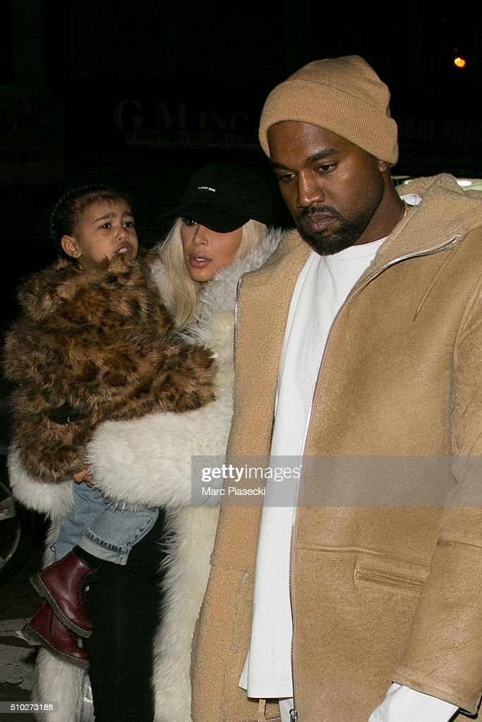 <a gi-track='captionPersonalityLinkClicked' href=/galleries/search?phrase=Kanye+West+-+Musician&family=editorial&specificpeople=201803 ng-click='$event.stopPropagation()'>Kanye West</a>, <a gi-track='captionPersonalityLinkClicked' href=/galleries/search?phrase=Kim+Kardashian&family=editorial&specificpeople=753387 ng-click='$event.stopPropagation()'>Kim Kardashian</a> West and their daughter <a gi-track='captionPersonalityLinkClicked' href=/galleries/search?phrase=North+West+-+Daughter+of+Kim+Kardashian&family=editorial&specificpeople=12192758 ng-click='$event.stopPropagation()'>North West</a> are seen on February 14, 2016 in New York City.