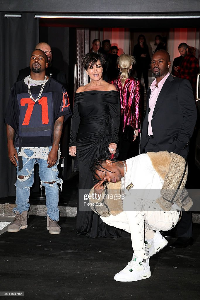 Kanye West Kris Jenner Travis Scott and Corey Gamble arrive at Vogue 95th Anniversary Party as part of the Paris Fashion Week Womenswear...