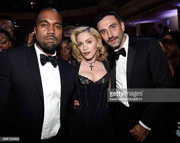 Kanye West Madonna and Riccardo Tisci attend Keep A Child Alive's 11th Annual Black Ball at Hammerstein Ballroom on October 30 2014 in New York City