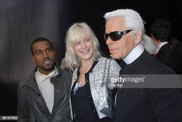 Kanye West Micky Green Karl Lagerfeld attend the Paris Fashion Week Spring/Summer 2008 Ready to Wear Chanel Photocall and Front Row Grand Palais on...