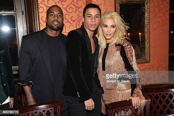 Kanye West Olivier Rousteing and Kim Kardashian attend the Balmain Aftershow Dinner as part of the Paris Fashion Week Womenswear Fall/Winter...