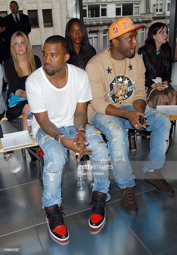 Kanye West on the front row for the Christopher Kane show at London Fashion Week Spring/Summer 2012 on September 19, 2011 in London, United Kingdom.