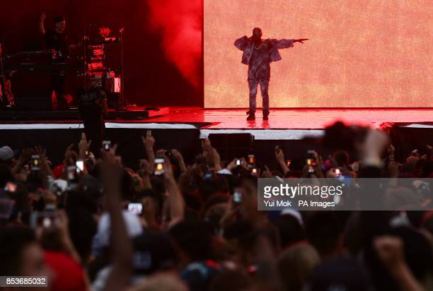 Kanye West performing on the Main Stage at the Wireless Festival in Finsbury Park north London
