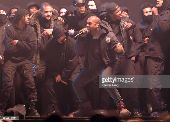 Kanye West performs at the BRIT Awards 2015 at The O2 Arena on February 25 2015 in London England