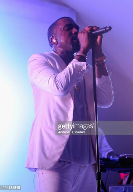 Kanye West performs at the Red Granite party at Carlton Beach on May 14 2011 in Cannes France
