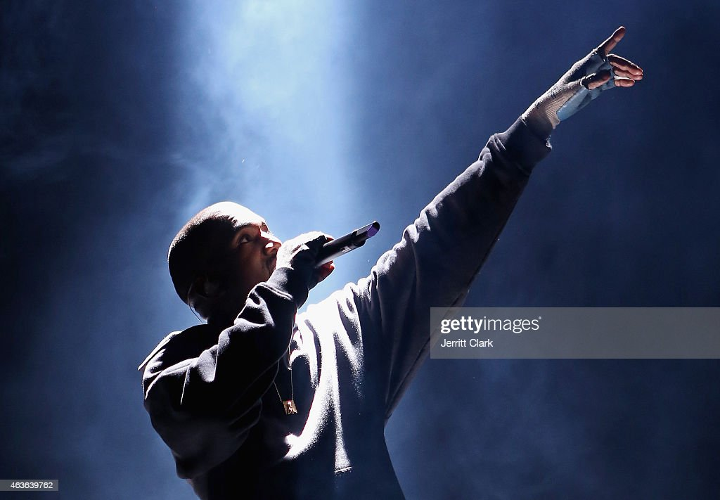 Kanye West performs at the Rn 1st Annual Roc City Classic Starring Kevin Durant x Kanye West on February 12 2015 in New York City