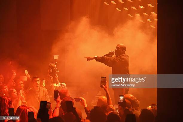 Kanye West performs during Harper's Bazaar's celebration of 'ICONS By Carine Roitfeld' presented by Infor Laura Mercier and Stella Artois at The...
