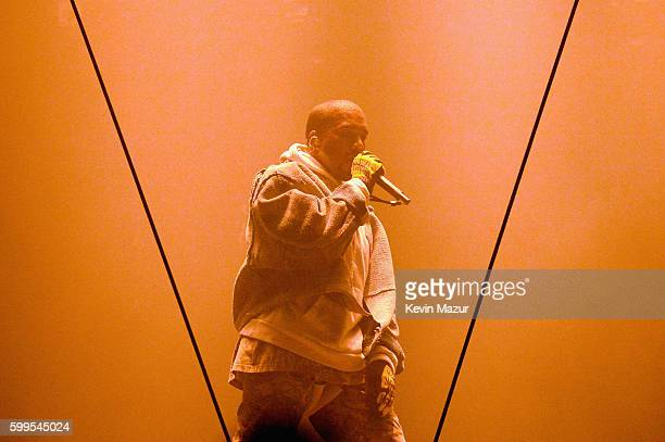 Kanye West performs during The Saint Pablo Tour at Madison Square Garden on September 5 2016 in New York City