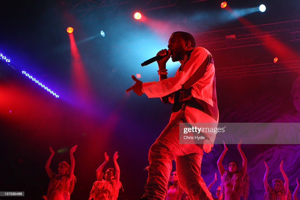 Kanye West performs on stage as part of Big Day Out Festival at the Gold Coast Parklands on January 22, 2012 in Gold Coast, Australia.
