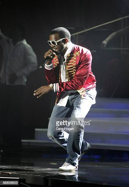 Kanye West performs on stage at The Brit Awards 2006 with MasterCard at Earls Court 1 on February 15 2006 in London England The 26th annual music...