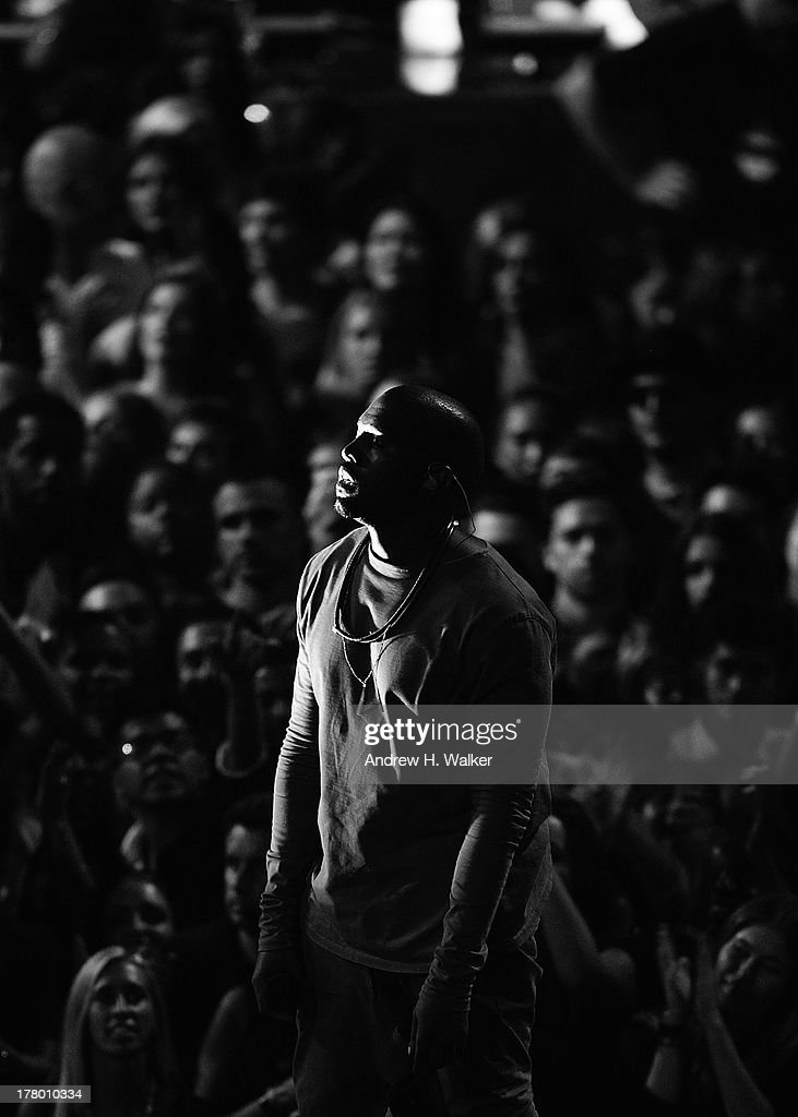 <a gi-track='captionPersonalityLinkClicked' href=/galleries/search?phrase=Kanye+West+-+Musician&family=editorial&specificpeople=201803 ng-click='$event.stopPropagation()'>Kanye West</a> performs on stage during the 2013 MTV Video Music Awards at the Barclays Center on August 25, 2013 in the Brooklyn borough of New York City.