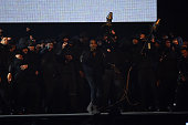 Kanye West performs on stage during the BRIT Awards 2015 at The O2 Arena on February 25 2015 in London England