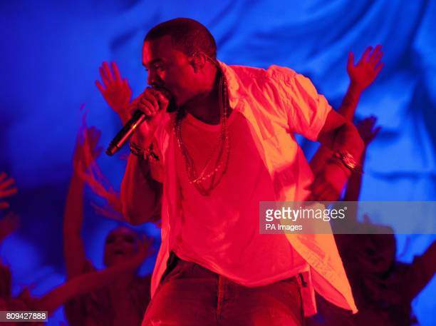 Kanye West performs on the main stage as he headlines the second night of the Big Chill Festival 2011 at Eastnor Castle Deer Park in Herefordshire