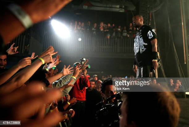 Kanye West performs onstage as Samsung Galaxy presents JAY Z and Kanye West at SXSW on March 12 2014 in Austin Texas