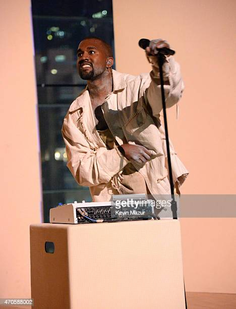 Kanye West performs onstage at TIME 100 Gala TIME's 100 Most Influential People In The World at Jazz at Lincoln Center on April 21 2015 in New York...