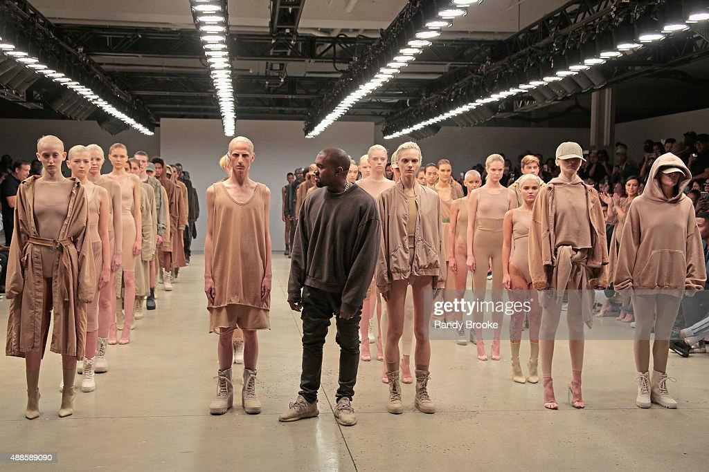 Kanye West poses during the finale of Yeezy Season 2 during New York Fashion Week at Skylight Modern on September 16 2015 in New York City