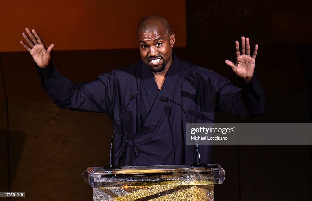 Kanye West presents the Fashion Icon Award to Pharrell Williams onstage at the 2015 CFDA Fashion Awards at Alice Tully Hall at Lincoln Center on June...