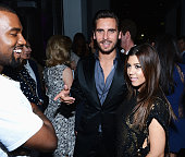 Kanye West Scott Disick and Kourtney Kardashian attend the celebration of Dom Perignon Luminous Rose at Wall at W Hotel on December 6 2012 in Miami...