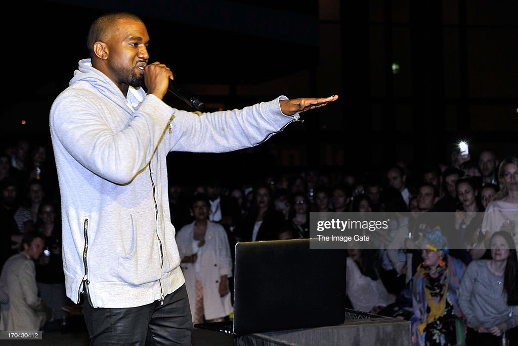 Kanye West shares with the Design Miami/ Basel audience parts of its unreleased new album Yeezus during a listening session at Design Miami/ Basel on June 12, 2013 in Basel, Switzerland.