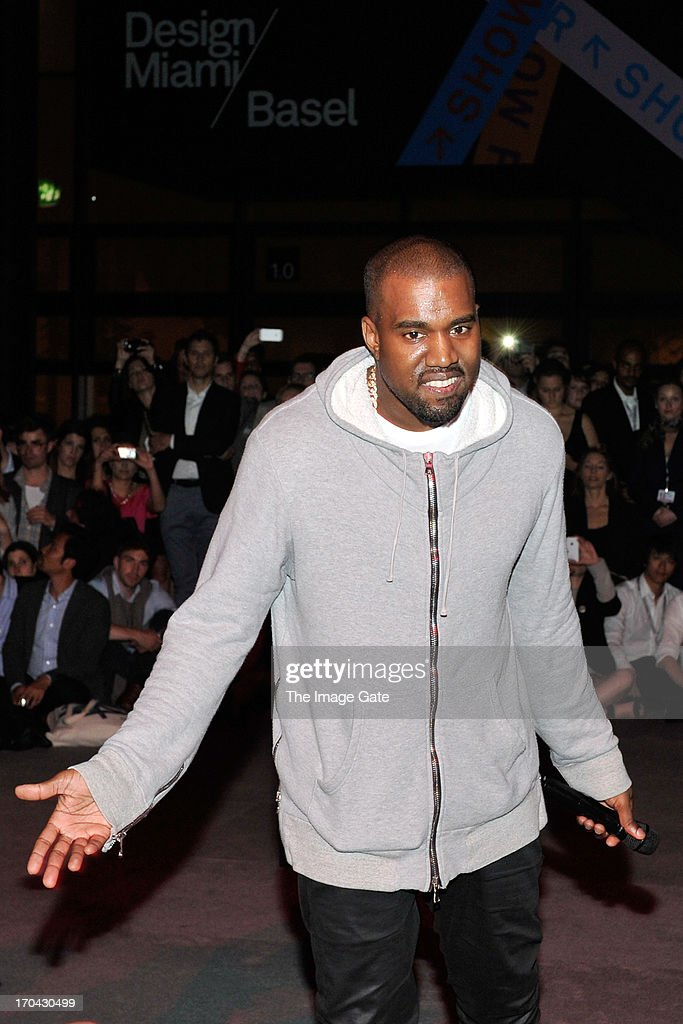 <a gi-track='captionPersonalityLinkClicked' href=/galleries/search?phrase=Kanye+West+-+Musician&family=editorial&specificpeople=201803 ng-click='$event.stopPropagation()'>Kanye West</a> shares with the Design Miami/ Basel audience parts of its unreleased new album Yeezus during a listening session at Design Miami/ Basel on June 12, 2013 in Basel, Switzerland.