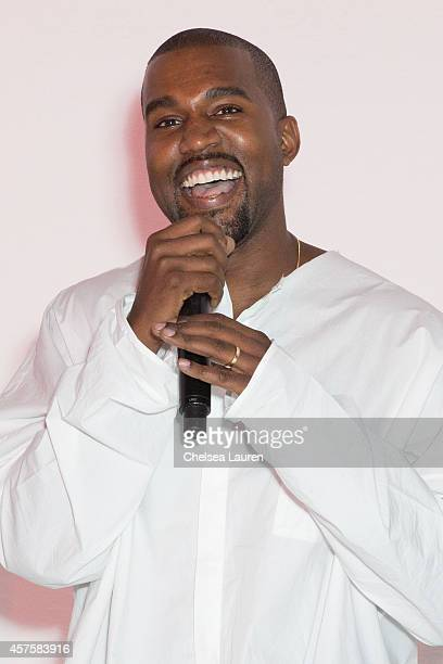 Kanye West speaks at Teyana Taylor's VII listening event presented by Def Jam GOOD Music and MVD Inc at Siren Studios on October 20 2014 in Hollywood...