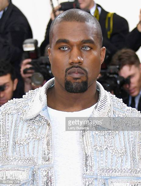 Kanye West ttends the 'Manus x Machina Fashion In An Age Of Technology' Costume Institute Gala at Metropolitan Museum of Art on May 2 2016 in New...
