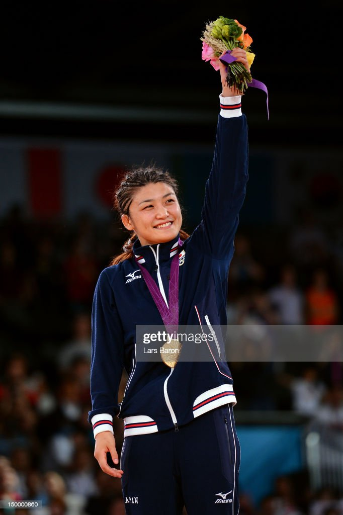Kaori Icho of Japan celebrates winning the gold medal in the Women's Freestyle 63 kg Wrestling on Day 12 of the London 2012 Olympic Games at ExCeL on August 8, 2012 in London, England.