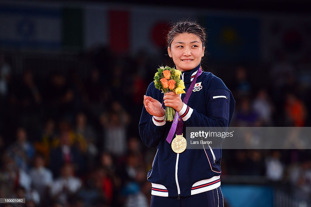 <a gi-track='captionPersonalityLinkClicked' href=/galleries/search?phrase=Kaori+Icho&family=editorial&specificpeople=2374687 ng-click='$event.stopPropagation()'>Kaori Icho</a> of Japan celebrates winning the gold medal in the Women's Freestyle 63 kg Wrestling on Day 12 of the London 2012 Olympic Games at ExCeL on August 8, 2012 in London, England.