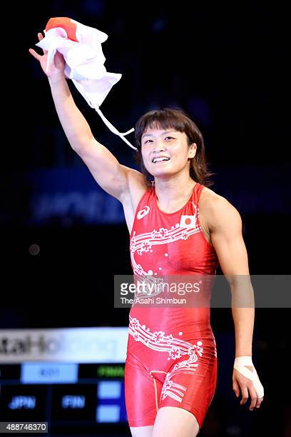 Kaori Icho of Japan celebrates winning the gold medal in the Women's Freestyle 58kg during day four of the World Wrestling Championships at the...