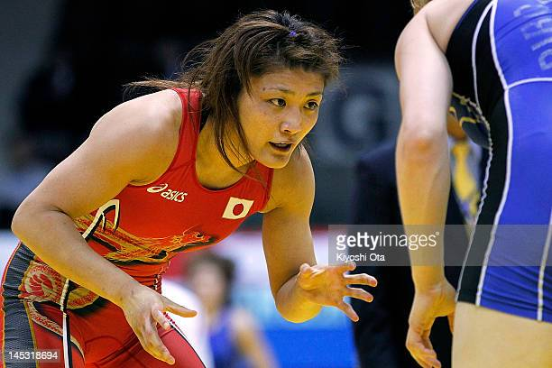 Kaori Icho of Japan competes against Elena Pirozhkova of the United States in the 63kg division of the second round match between Japan and the...