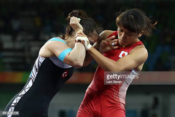 Kaori Icho of Japan competes against Elif Jale Yesilirmak of Turkey during a Women's Freestyle 58kg Quarterfinal bout on Day 12 of the Rio 2016...
