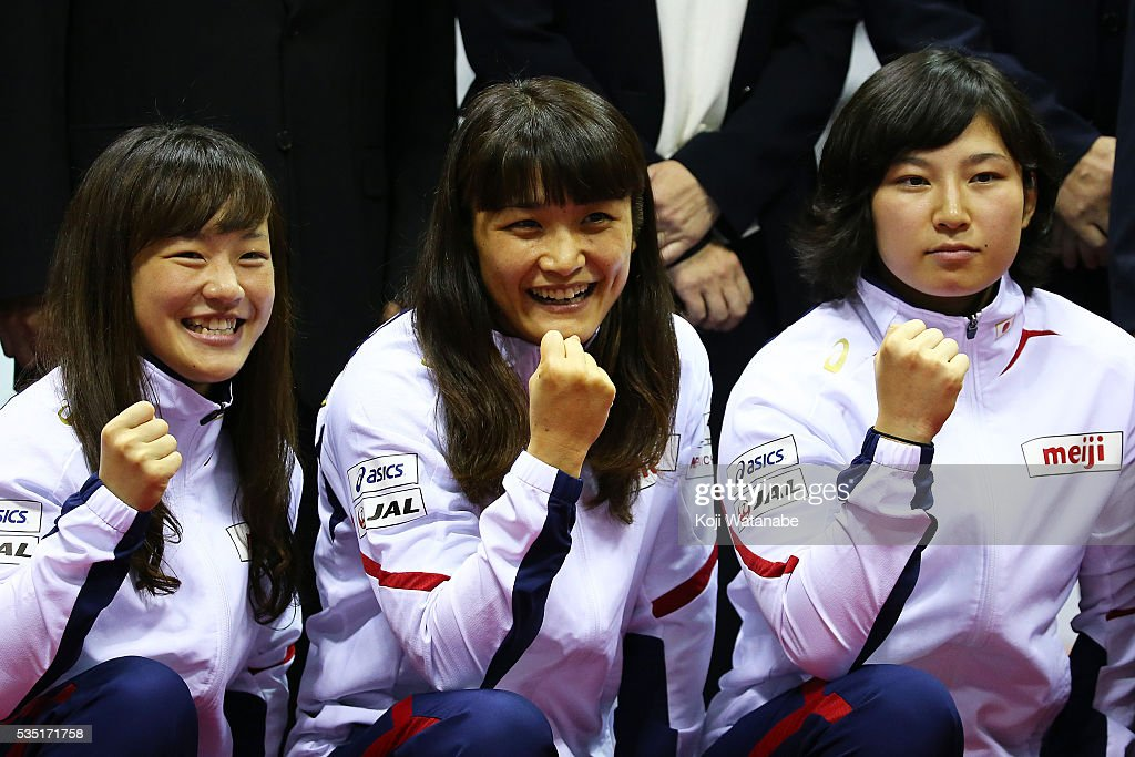 <a gi-track='captionPersonalityLinkClicked' href=/galleries/search?phrase=Kaori+Icho&family=editorial&specificpeople=2374687 ng-click='$event.stopPropagation()'>Kaori Icho</a> (C) poses with Rio Olympic Games national team the Woman's 58kg free style during All Japan Wrestling Championships at Yoyogi National Gymnasium on May 29, 2016 in Tokyo, Japan.