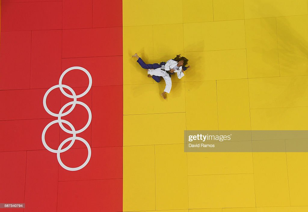 Kaori Matsumoto of Japan (white) competes against Automne Pavia of France in the Women's -57 kg Judo quarterfinal on Day 3 of the Rio 2016 Olympic Games at Carioca Arena 2 on August 8, 2016 in Rio de Janeiro, Brazil.